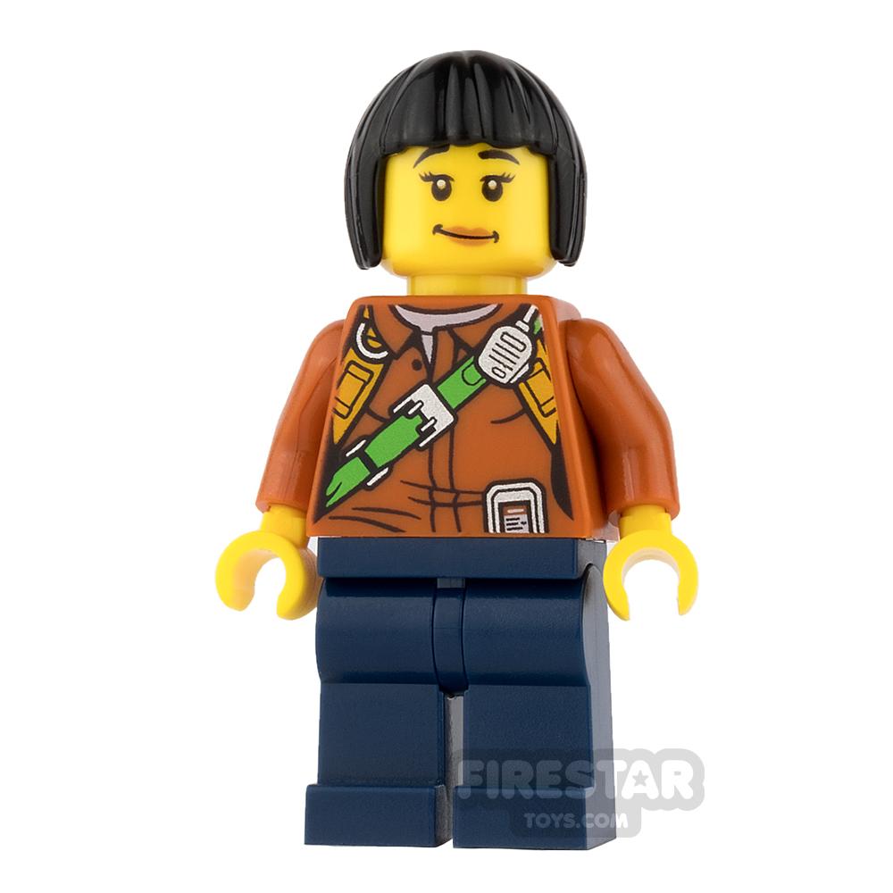 LEGO City Mini Figure - Jungle Explorer - Orange Shirt with Black Bob