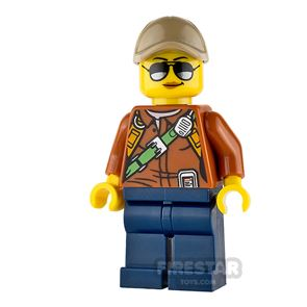 LEGO City Mini Figure - Jungle Explorer - Dark Tan Cap and Sunglasses