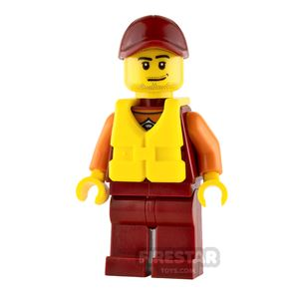 LEGO City Mini Figure - City Coast Guard - Lifeguard with Dark Red Cap