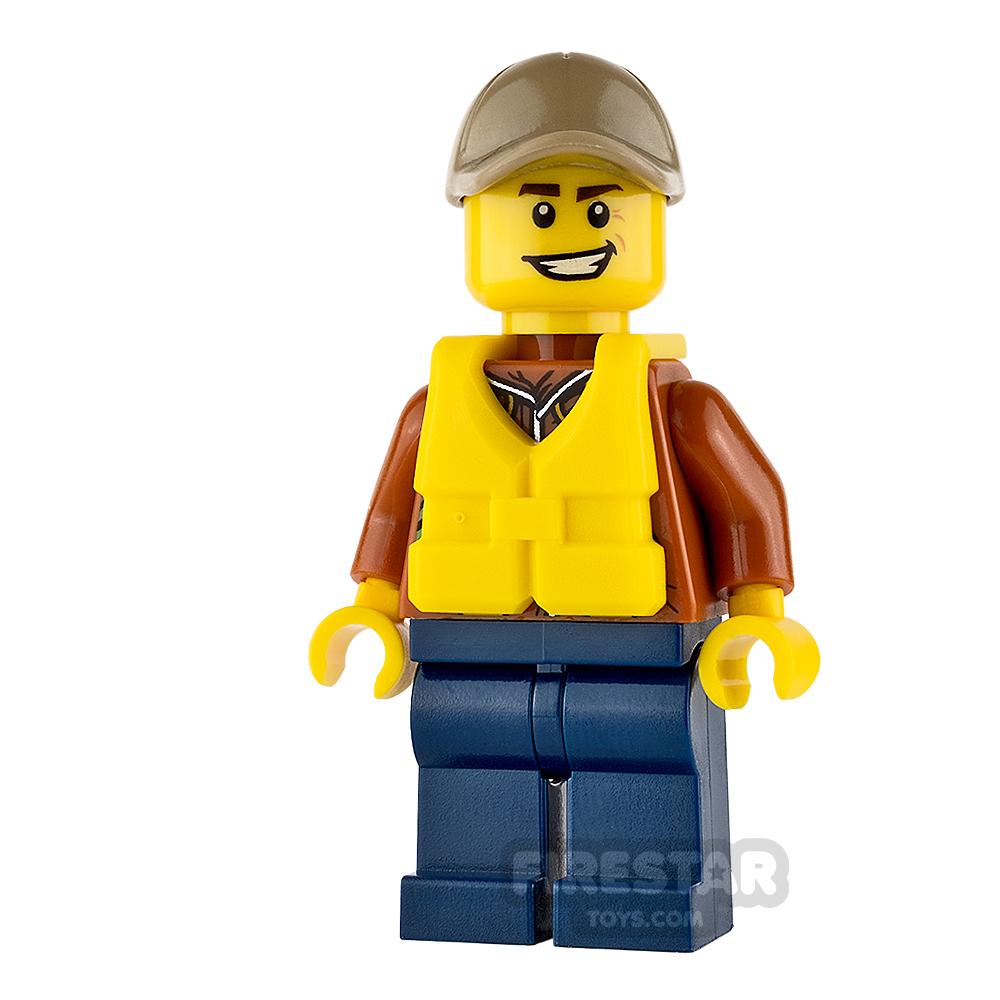 LEGO City Mini Figure - Jungle Explorer - Dark Tan Cap and Life Jacket