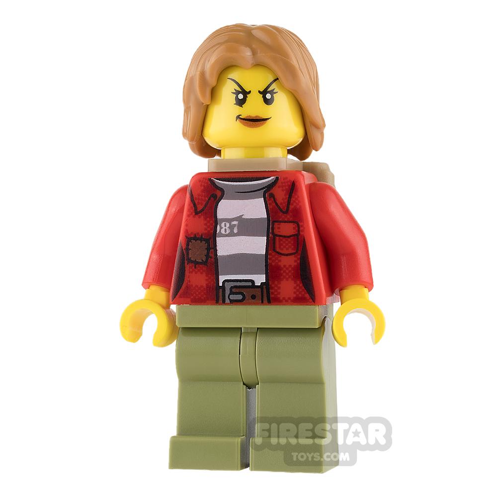 LEGO City Mini Figure - Mountain Police - Female Crook - Backpack