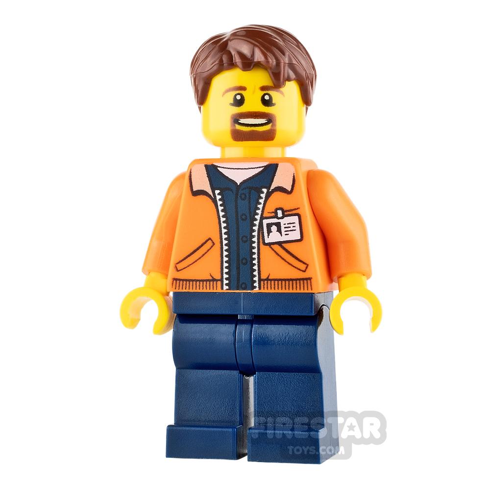 LEGO City Mini Figure - Orange Jacket and Goatee
