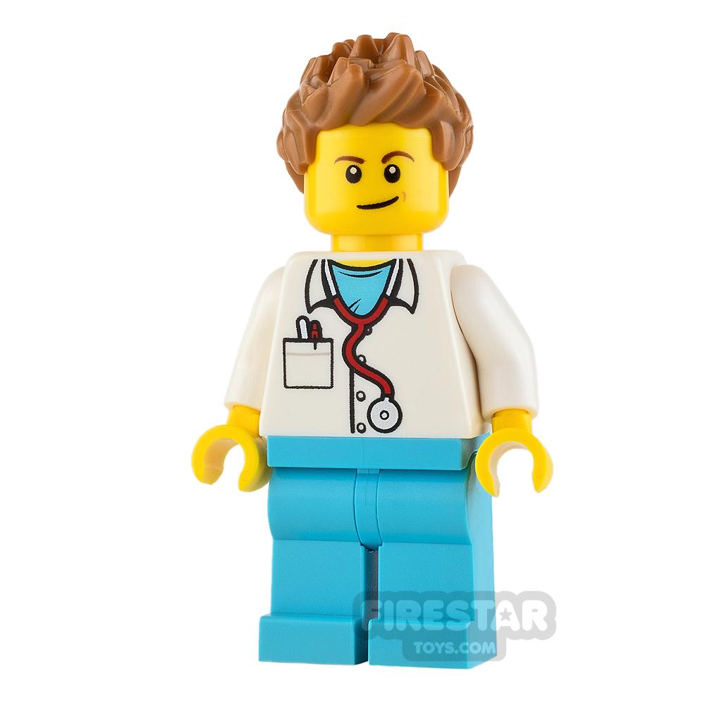 LEGO City Mini Figure - Doctor - Medium Dark Flesh Spiked Hair