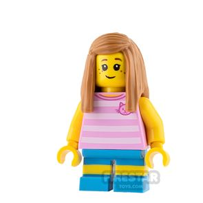 LEGO City Mini Figure - Girl with Pink Cat Top and Freckles