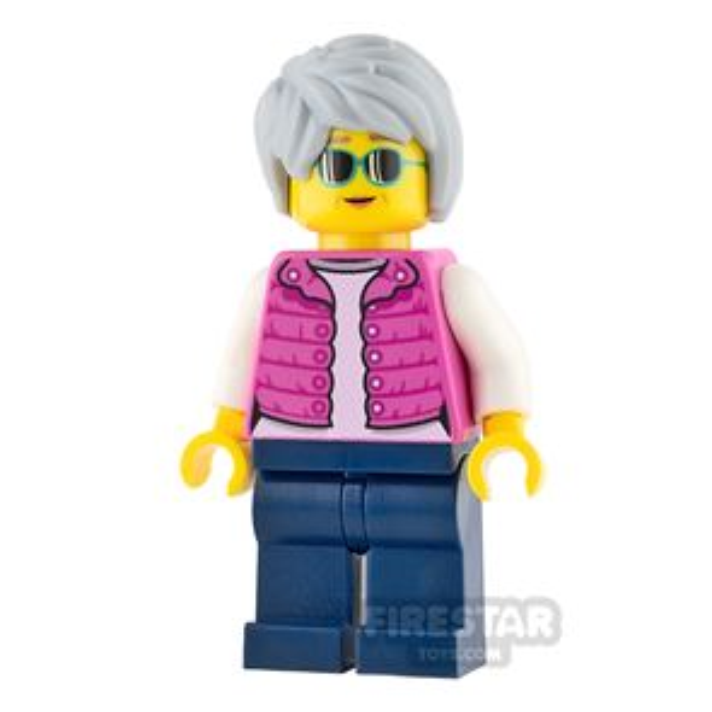 LEGO City Mini Figure - Pink Jacket and Swept Gray Hair