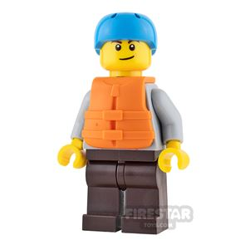 LEGO City Mini Figure - Gray Hoodie and Life Jacket