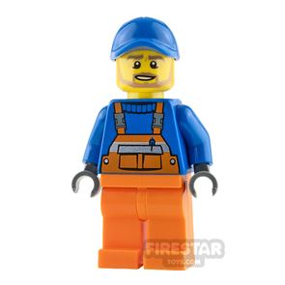 LEGO City Mini Figure - Orange Overalls and Tan Beard