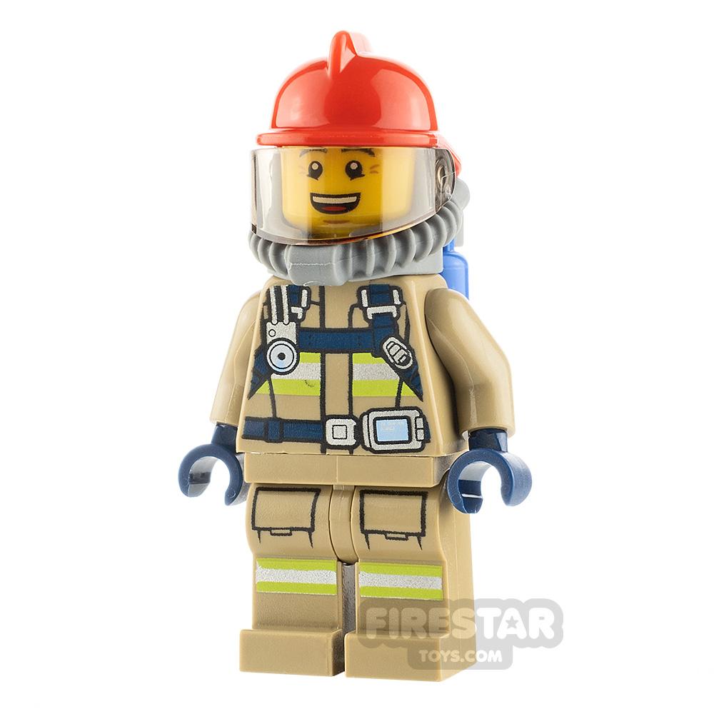LEGO City Minifigure Fireman with Reflective Stripes