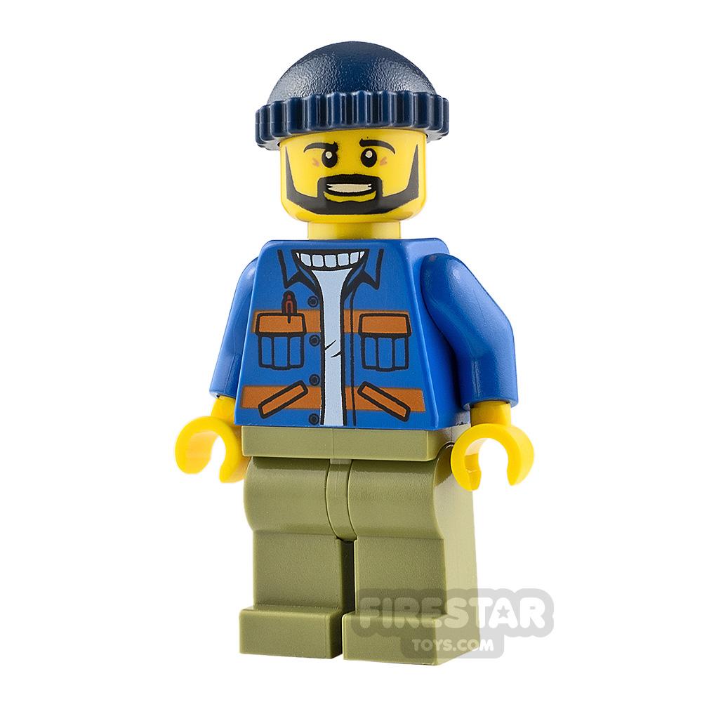 LEGO City Minifigure Dock Worker Blue Jacket
