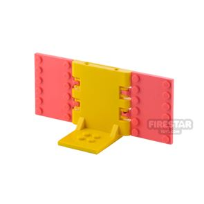Minifigure Display Stand 2x2 Yellow and Coral