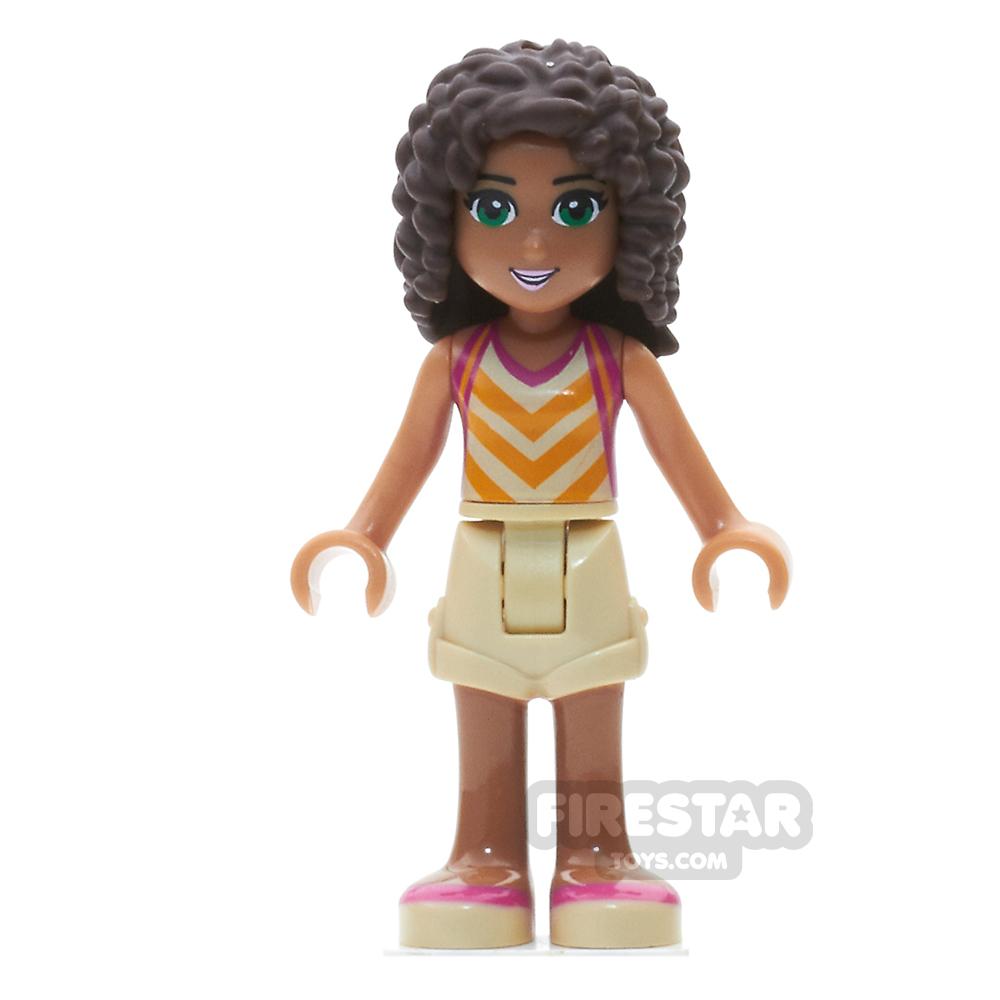 LEGO Friends Mini Figure - Andrea - Tan Shorts and Striped Top
