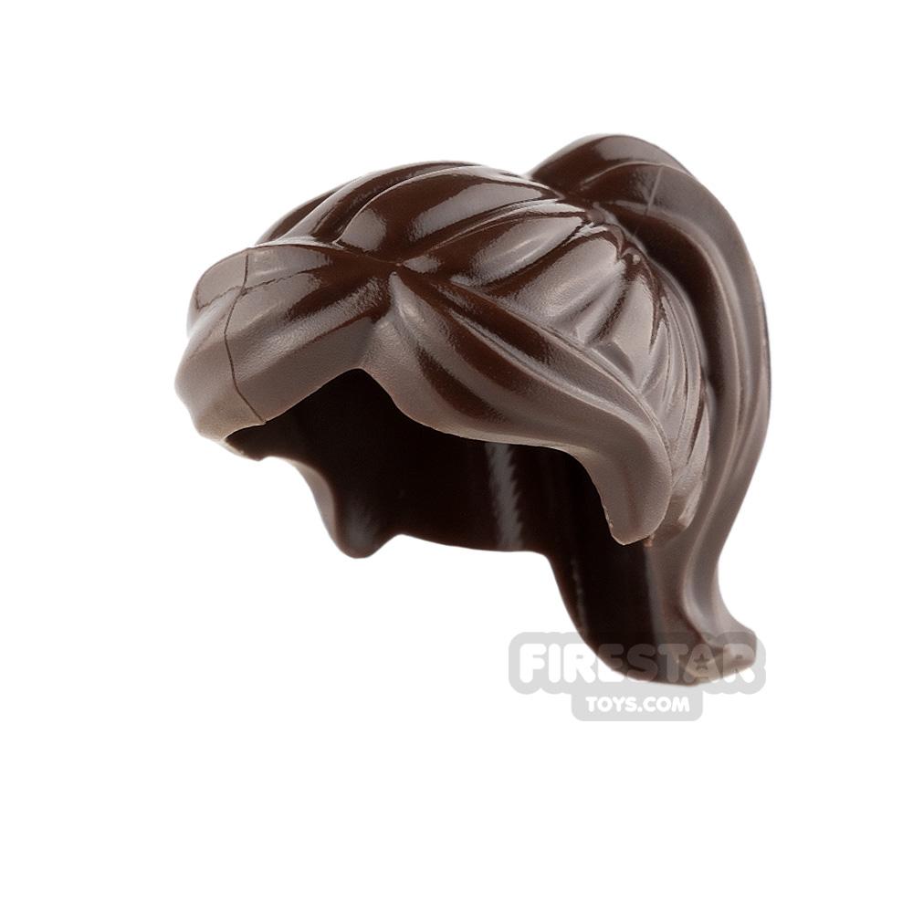 LEGO Hair - Ponytail and Swept Sideways Fringe - Dark Brown