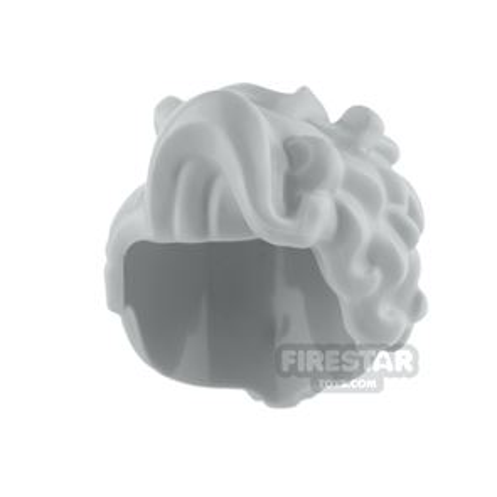 LEGO Hair - Large Wavy Curls and Small Bun - Light Blueish Gray