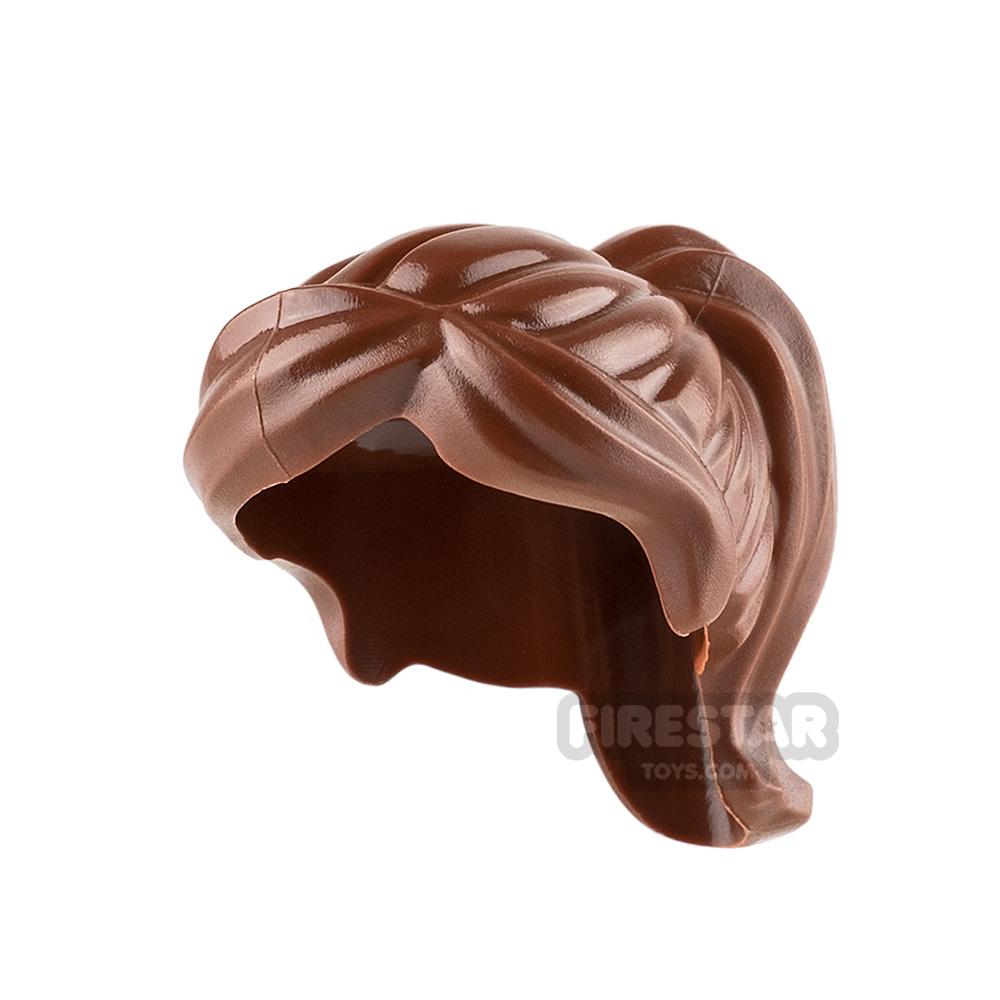 LEGO Hair - Ponytail and Swept Sideways Fringe - Reddish Brown