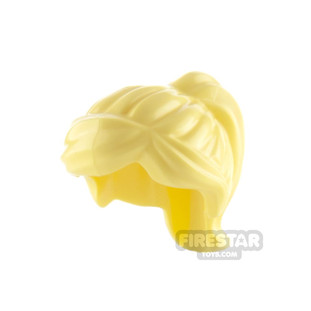 LEGO Hair - Ponytail and Swept Sideways Fringe - Bright Light Yellow
