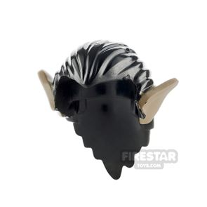 LEGO Hair - Long With Pointy Brown Orc Ears - Black
