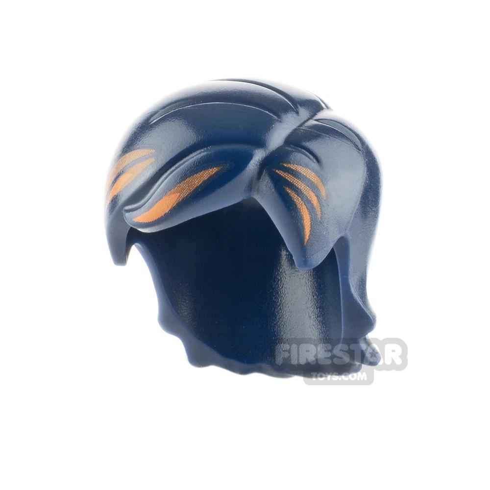 LEGO Hair - Side Part - Dark Blue with Orange Streaks