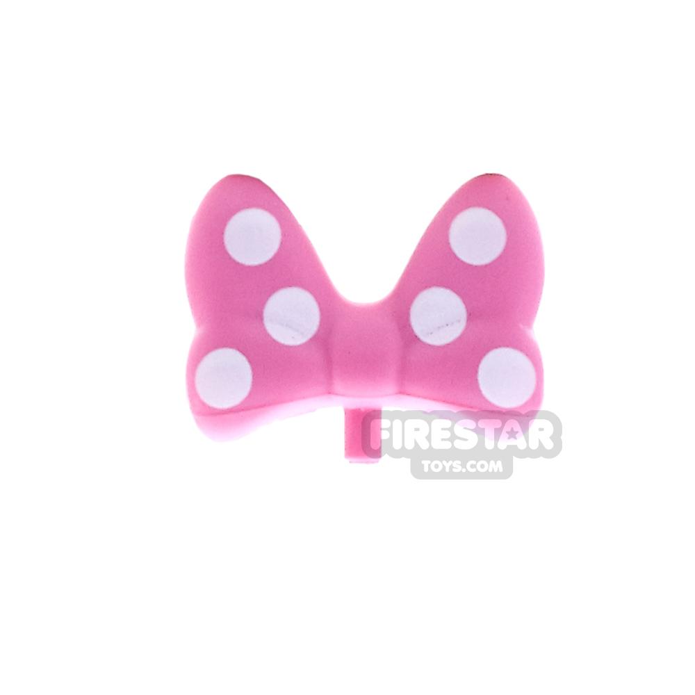 LEGO Hair - Hair Bow with White Polka Dots - Dark Pink