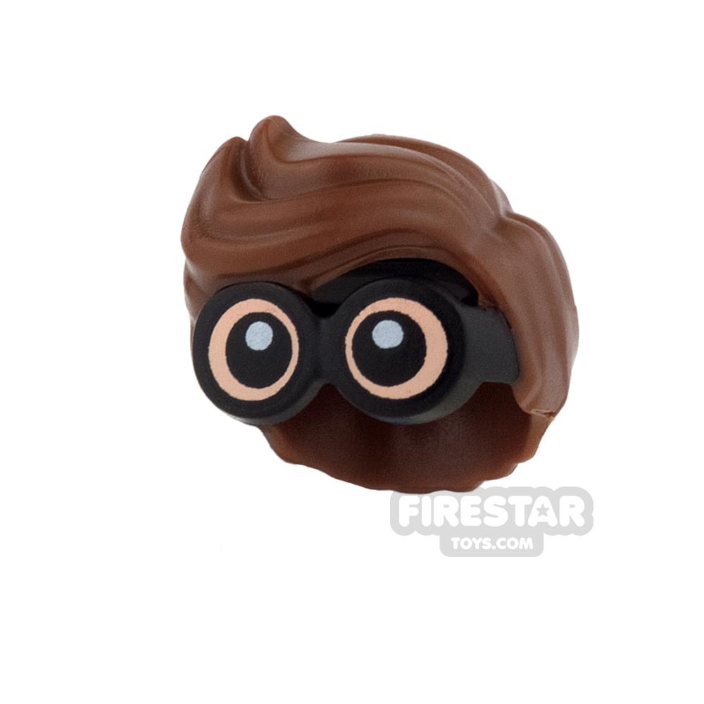 LEGO Hair - Wavy with Light Flesh Goggles - Reddish Brown