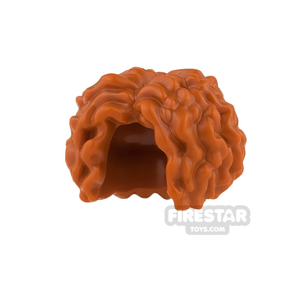 LEGO Hair - Bushy with Center Parting  - Dark Orange