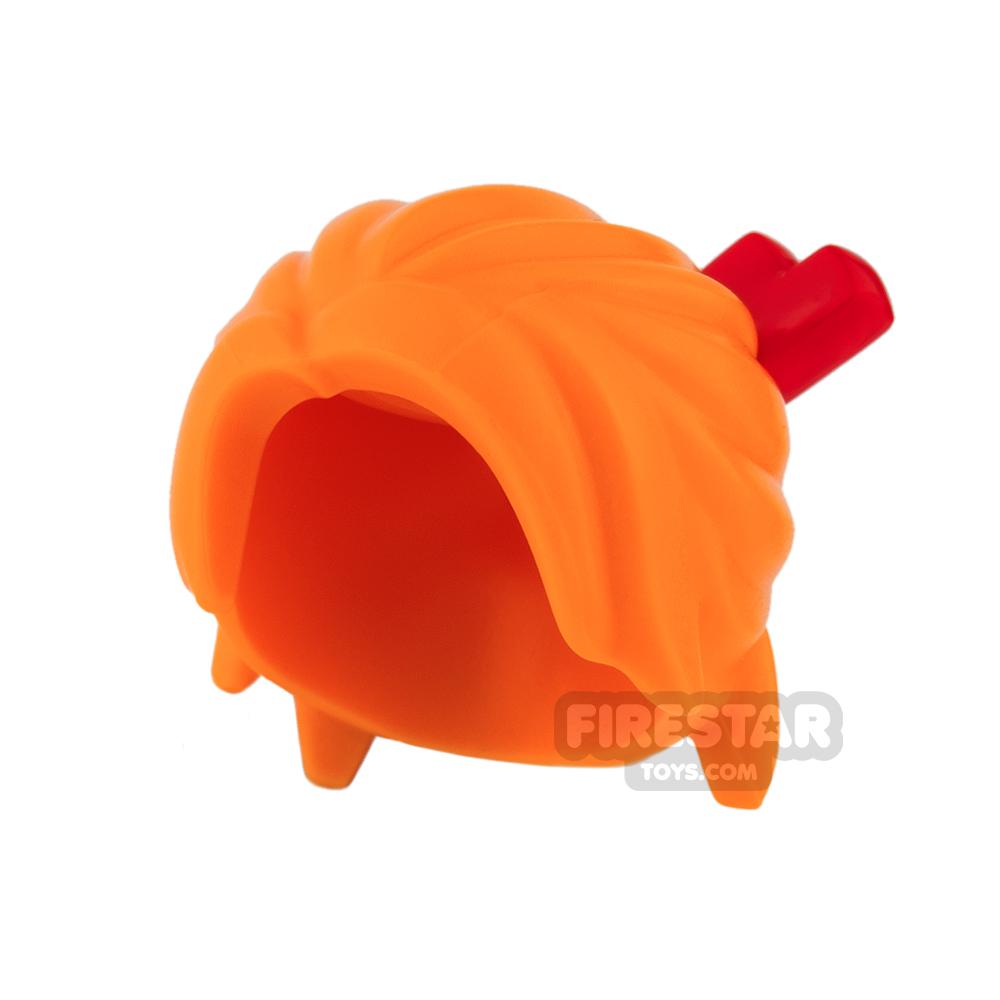 LEGO Hair - Loose Bun with Red Chopsticks - Orange