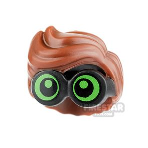 LEGO Hair - Wavy with Green Goggles - Reddish Brown