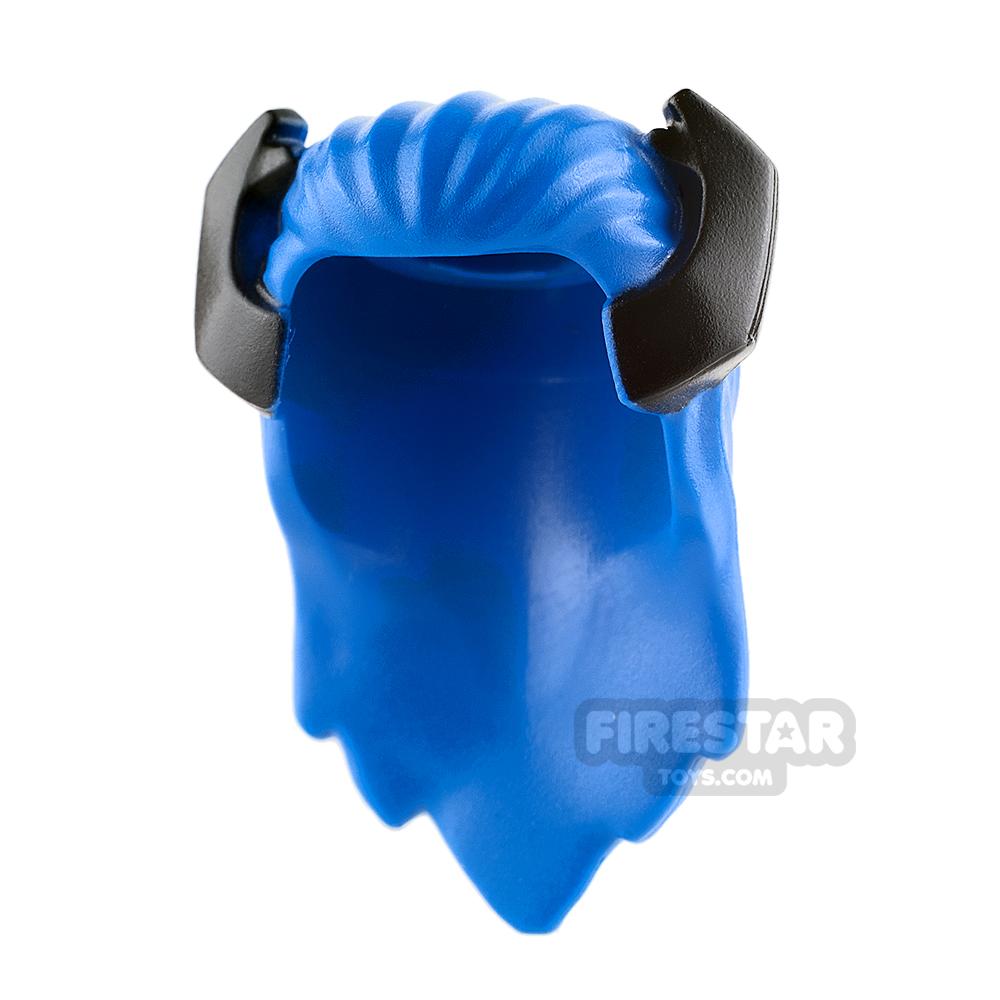 LEGO Hair - Long Blue with Black Horns