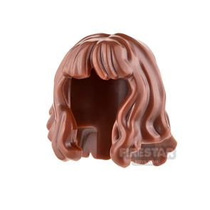 LEGO Hair - Mid-Length and Wavy with Bangs - Reddish Brown