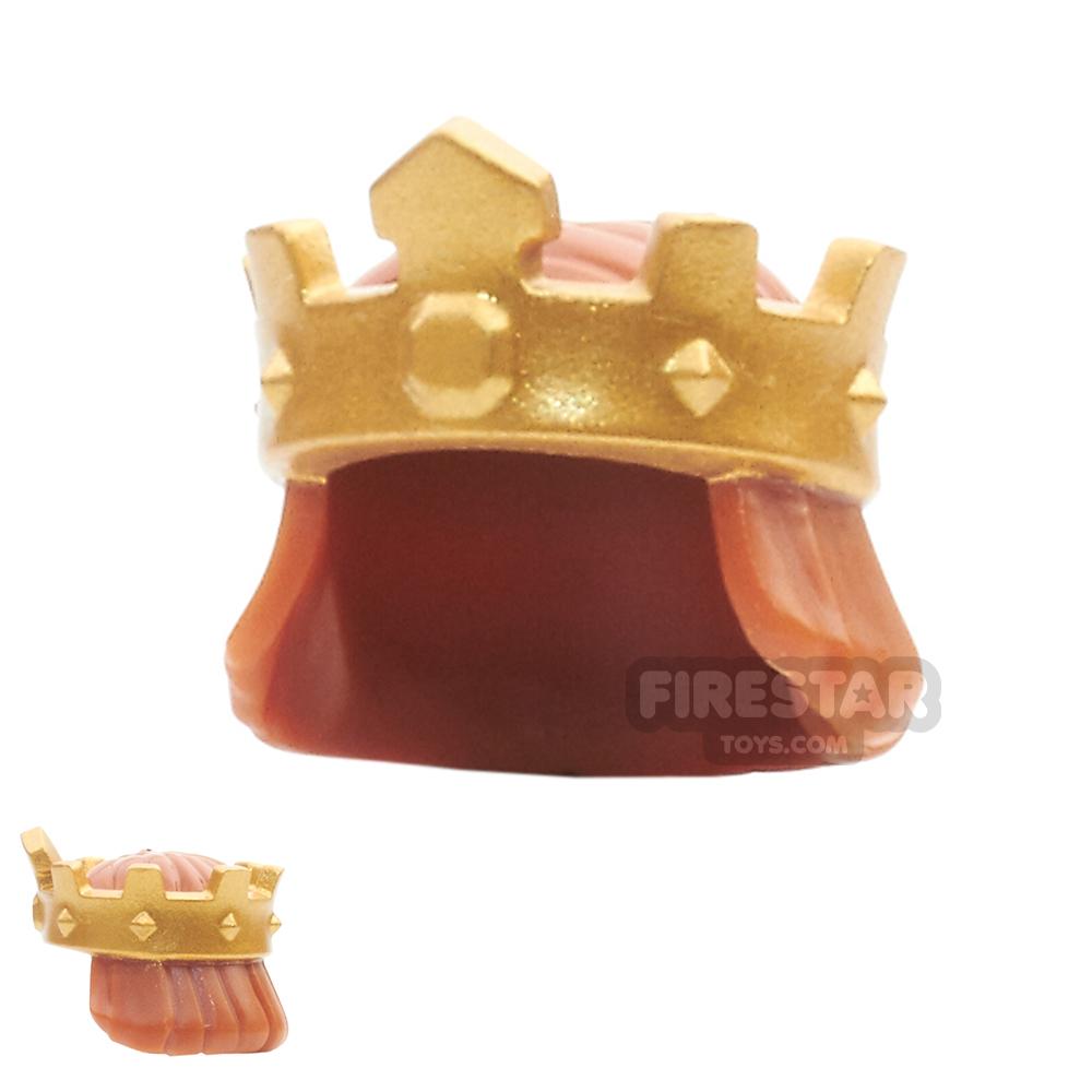 LEGO - Gold King's Crown with Hair - Dark Orange