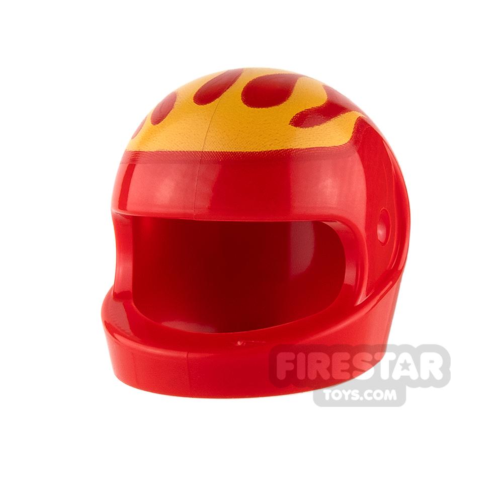LEGO - Printed Biker Helmet - Yellow Flames