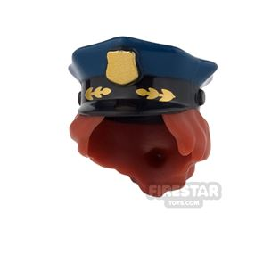LEGO - Police Hat with Badge and Hair - Dark Blue - Dark Red Hair