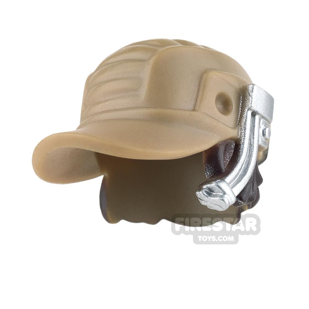 LEGO - Dark Tan Cap with Silver Headset and Dark Brown Hair