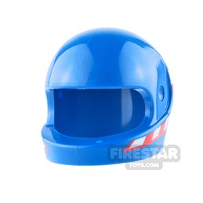 LEGO - Biker Helmet - Blue with Red and White Checkered Flag