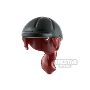LEGO - Horse Riding Hat with Ponytail - Dark Red