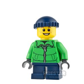 LEGO City Mini Figure - Green Winter Jacket and Freckles