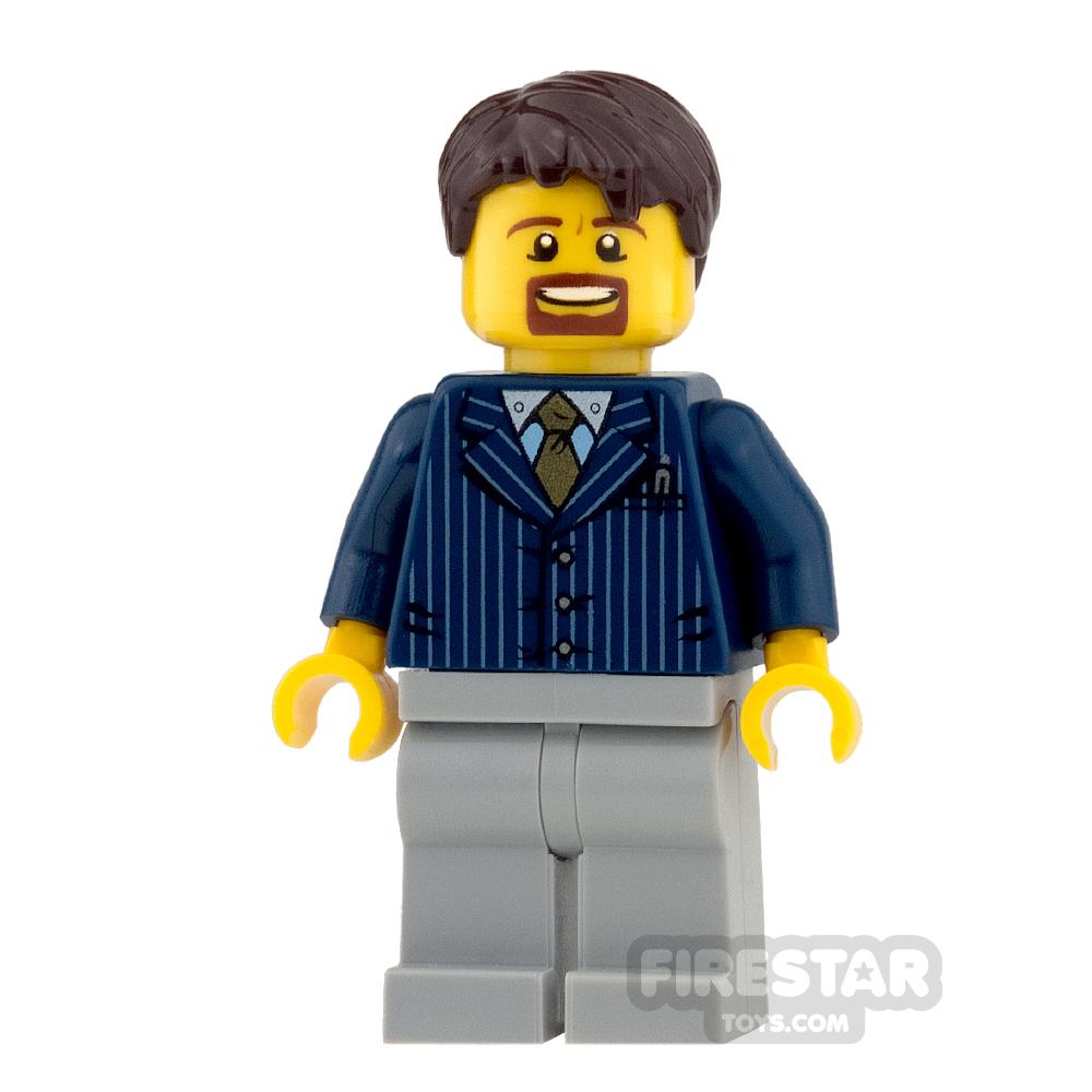 LEGO City Mini Figure - Businessman - Pinstripe Jacket and Gold Tie