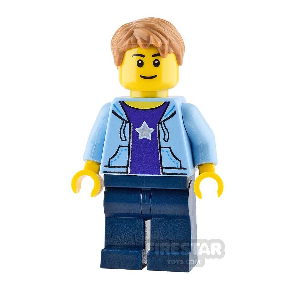 LEGO City Mini Figure - Boy - Bright Light Blue Hoodie