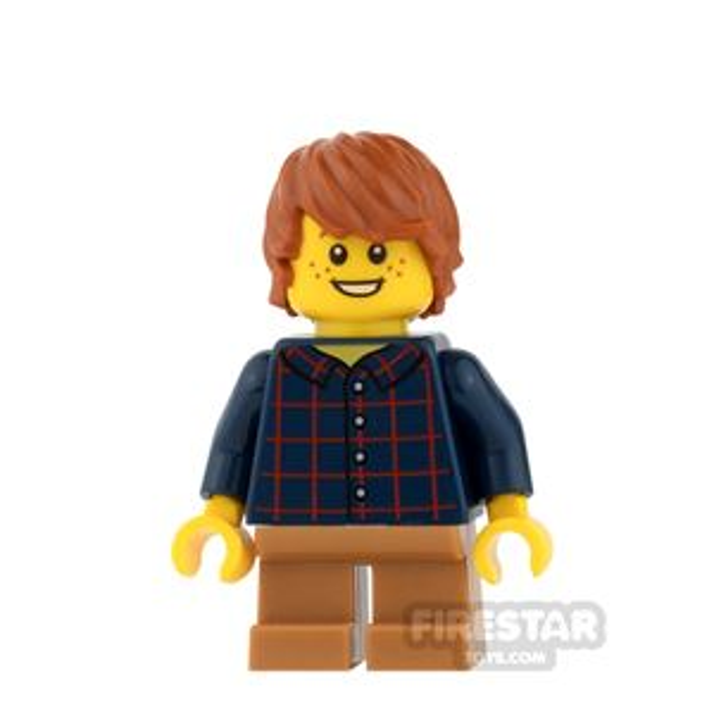 LEGO City Mini Figure - Plaid Shirt and Medium Dark Flesh Short Legs