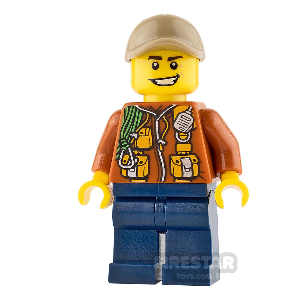 LEGO City Mini Figure - City Jungle Explorer - Dark Orange Jacket