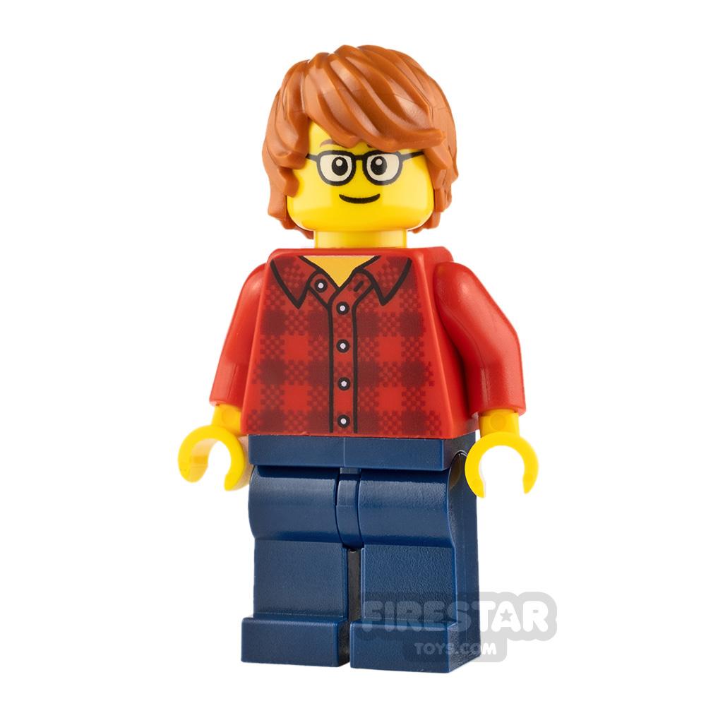 LEGO City Minifigure Plaid Flannel Shirt and Glasses