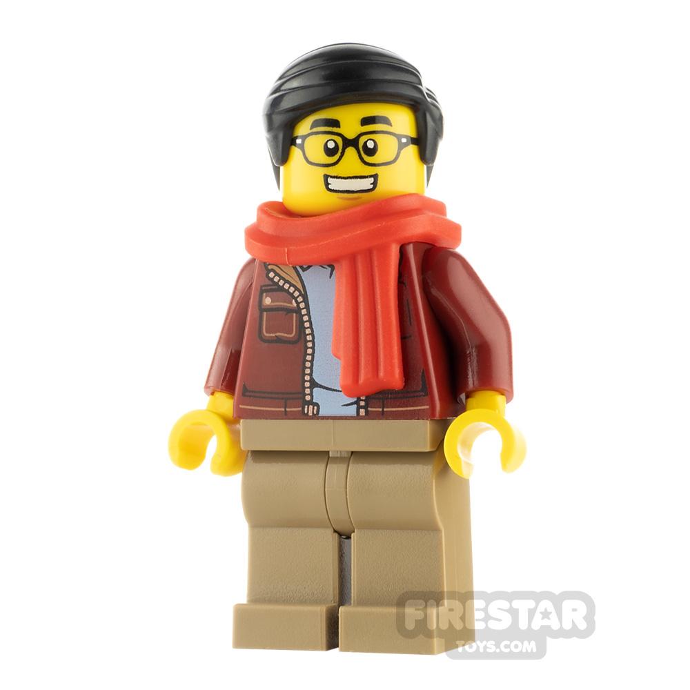LEGO City Minfigure Man Dark Red Jacket