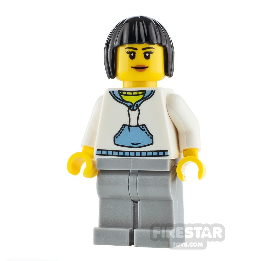LEGO City Minfigure Woman White Hoodie
