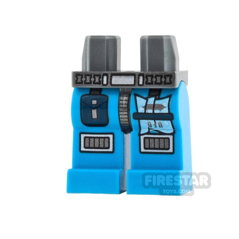 LEGO Mini Figure Legs - Knee Pads and Patch - Dark Azure