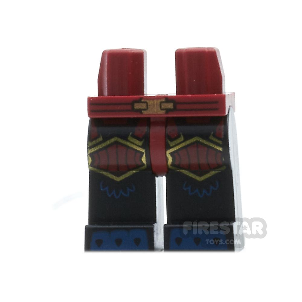 LEGO Mini Figure Legs - Tiger - Black with Dark Red Armour