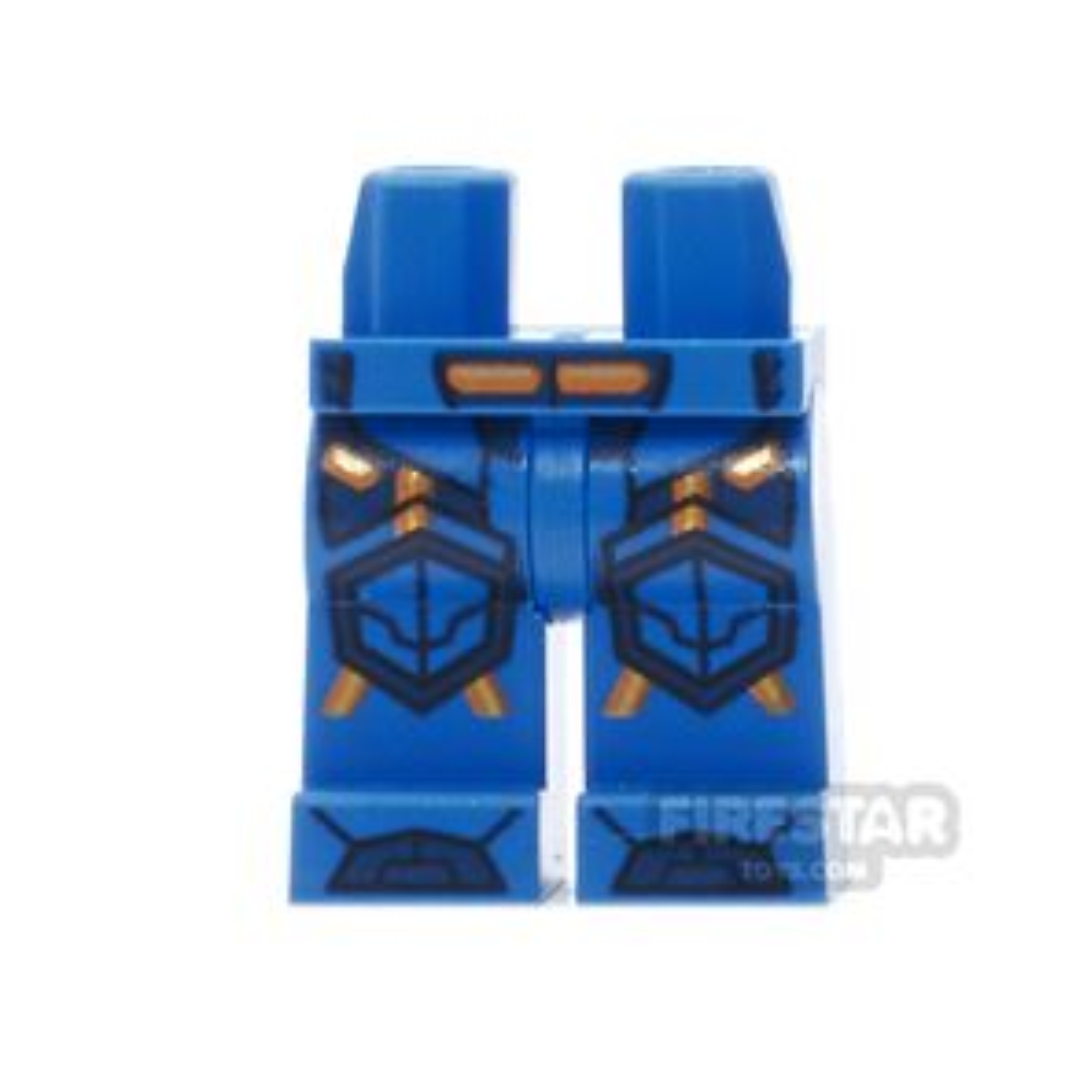 LEGO Mini Figure Legs - Blue Armour, Orange and Gold Circuitry