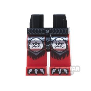 LEGO Mini Figure Legs -  Black And Red With Monster Face Emblems