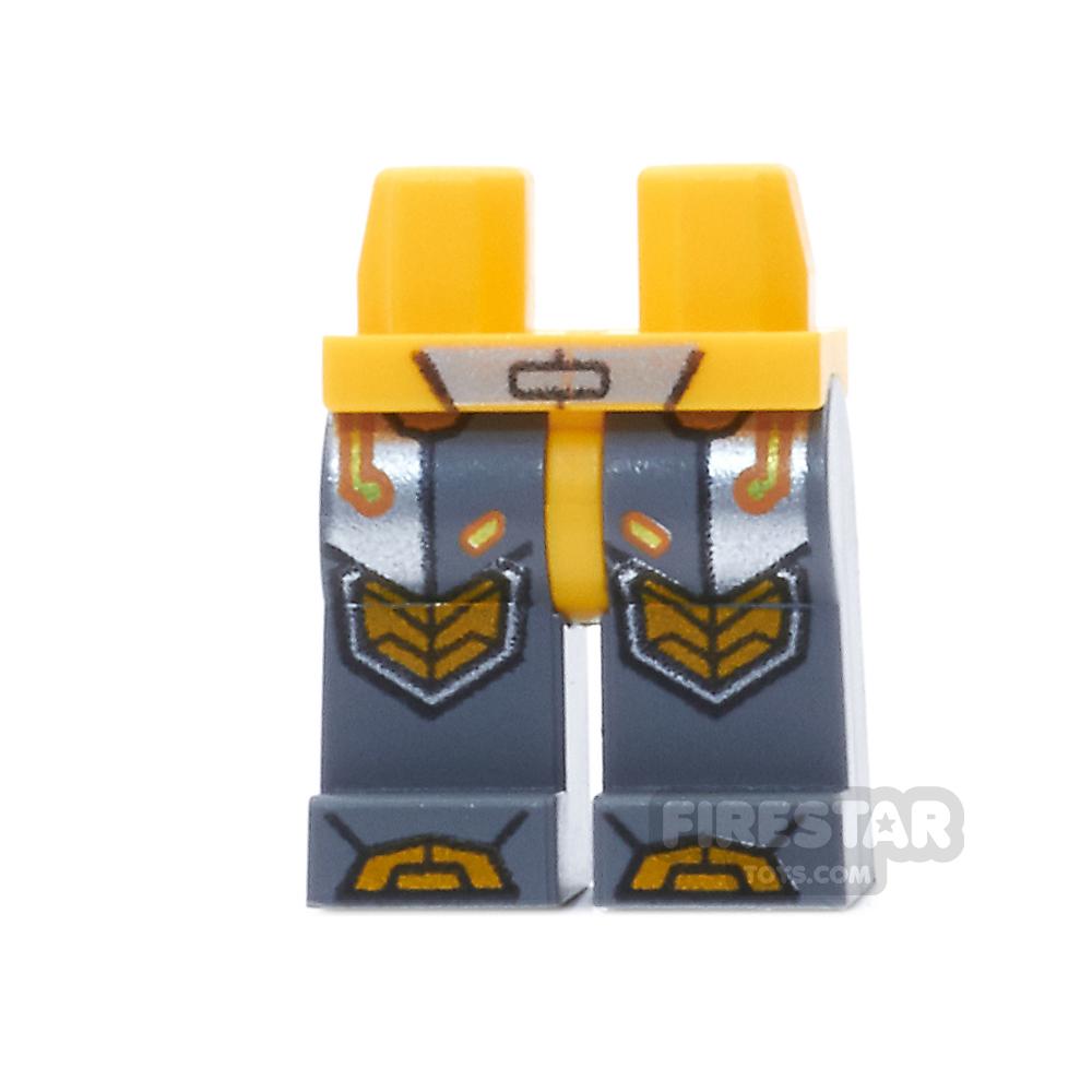 LEGO Mini Figure Legs - Orange Armor, Circuitry and Knee Pads
