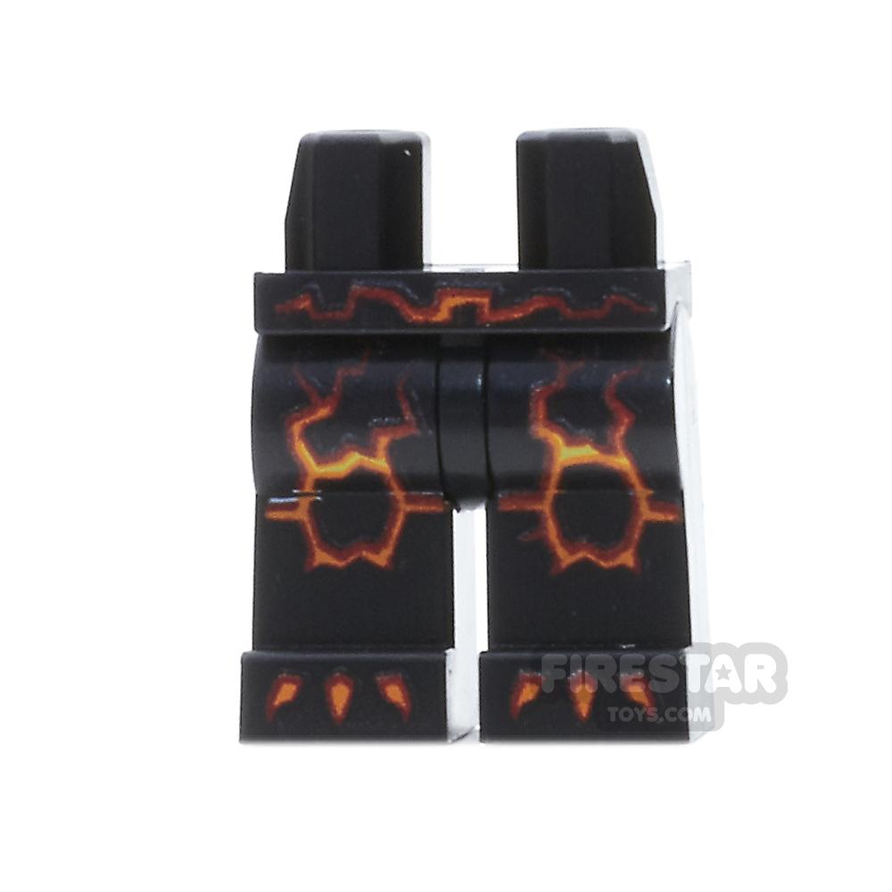 LEGO Mini Figure Legs - Black with Lava Cracks