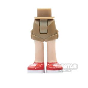 LEGO Elves Mini Figure Legs - Dark Tan Shorts and Red Shoes