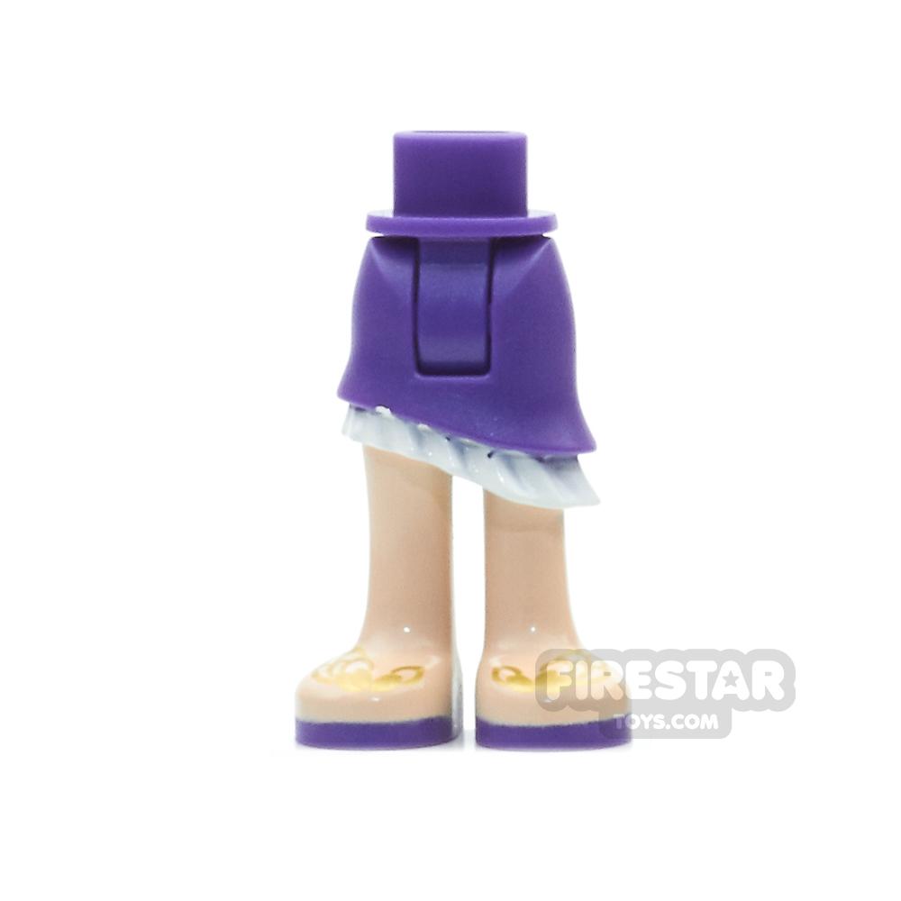 LEGO Elves Mini Figure Legs - Dark Purple Skirt and Gold Feather Sandals